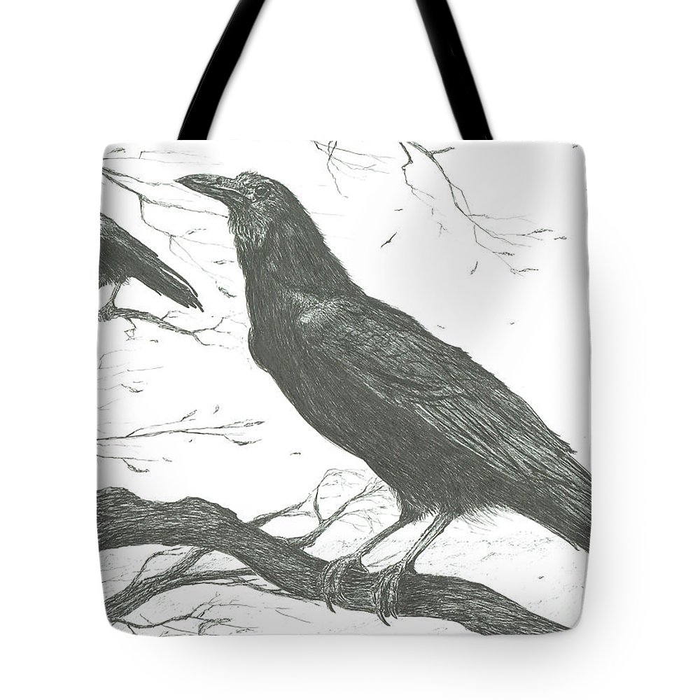 Observers Tote Bag featuring the drawing Observers by Vincent Alexander Booth