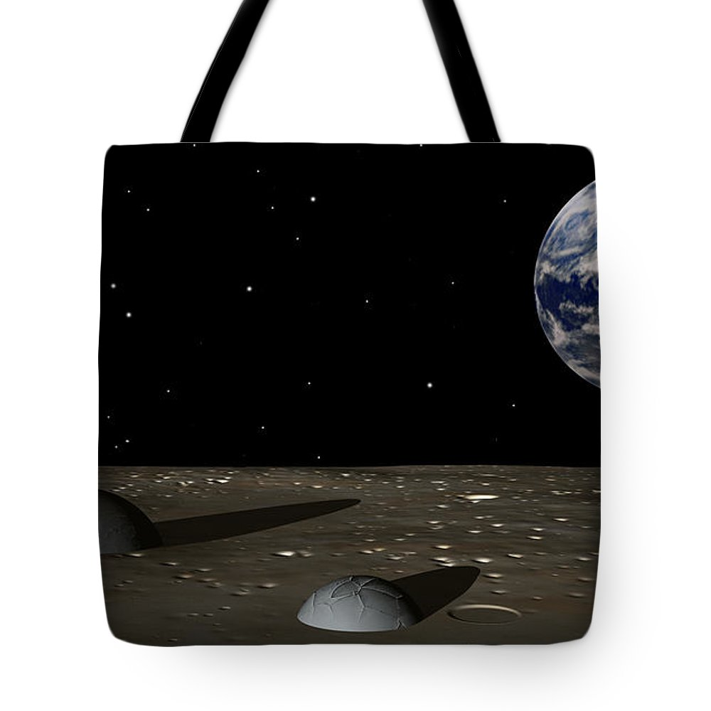 Moon Tote Bag featuring the digital art Observing Mom by Richard Rizzo