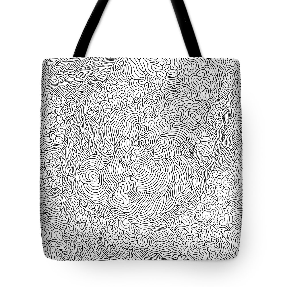 Mazes Tote Bag featuring the drawing Obsession by Steven Natanson