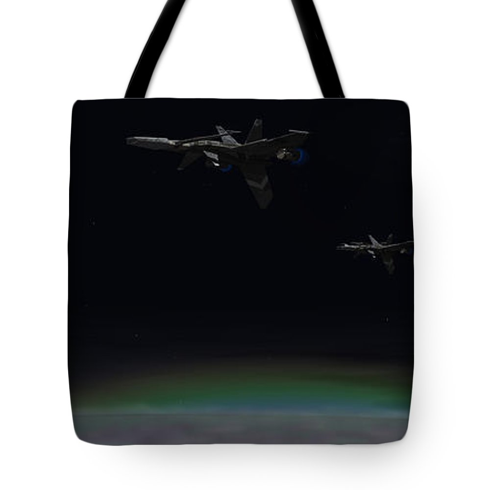 Sci-fi Tote Bag featuring the digital art Occurrence On Dantios by Richard Rizzo