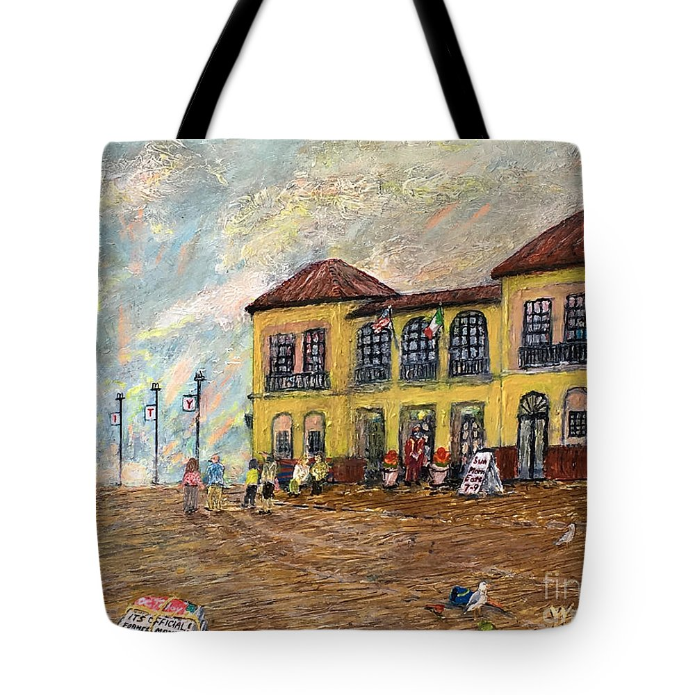 Ocean City Tote Bag featuring the painting Ocean City Boardwalk by Richard Wandell