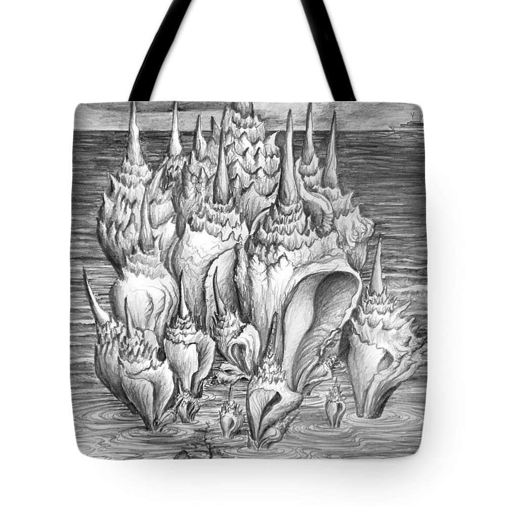 Shells Tote Bag featuring the drawing Ocean Fantasy. Huge Shells by Sofia Metal Queen