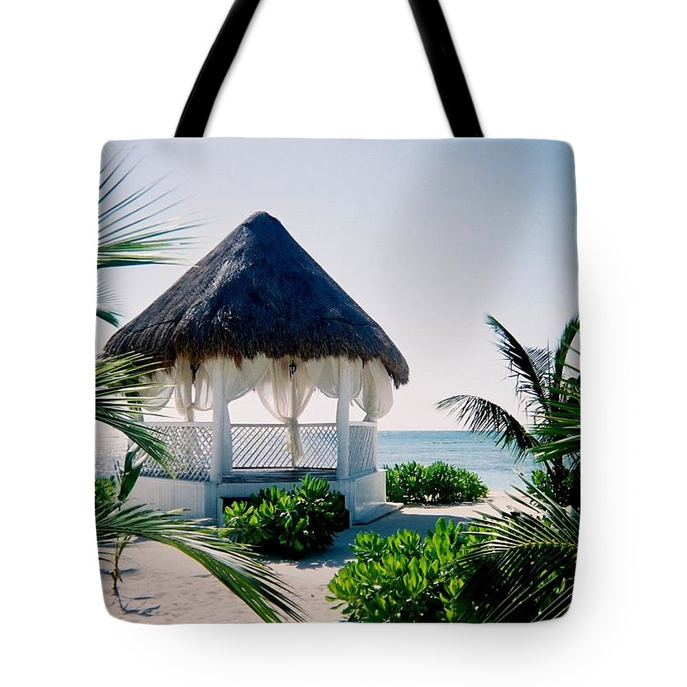Resort Tote Bag featuring the photograph Ocean Gazebo by Anita Burgermeister