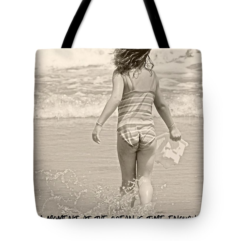 Child Tote Bag featuring the photograph Ocean Moment Quote by JAMART Photography
