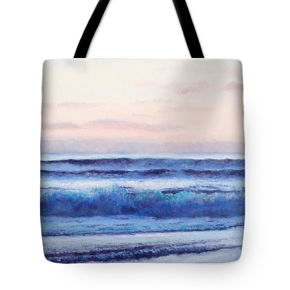 Ocean Tote Bag featuring the painting Ocean Painting 'dusk' By Jan Matson by Jan Matson