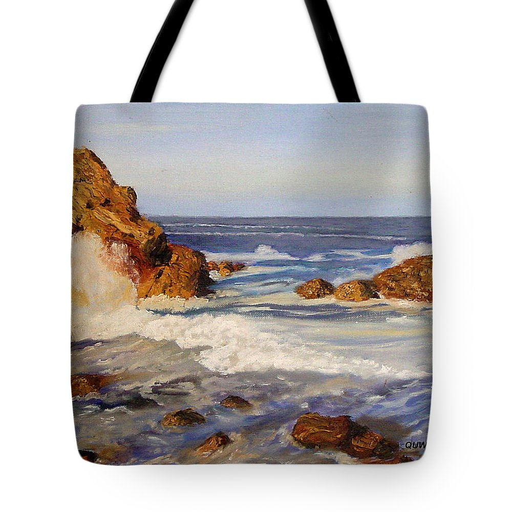 Seascape Tote Bag featuring the painting Ocean Rock by Quwatha Valentine