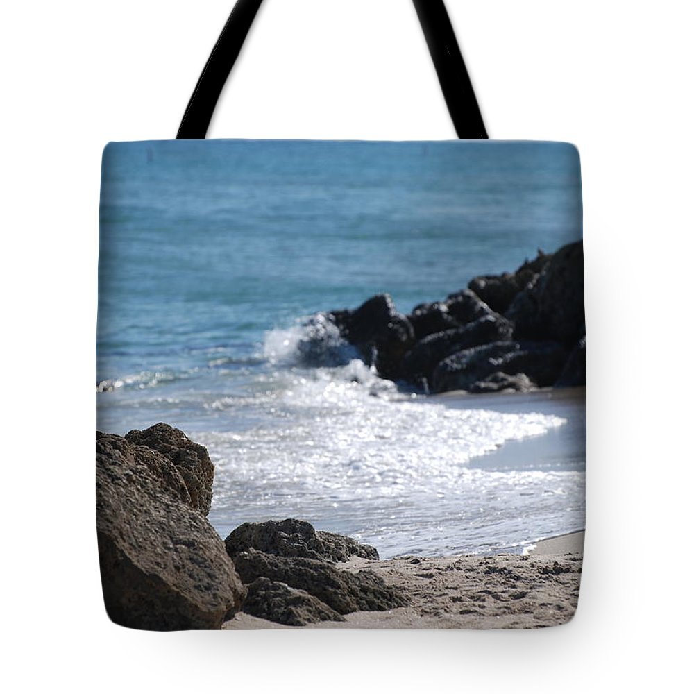 Sea Scape Tote Bag featuring the photograph Ocean Rocks by Rob Hans