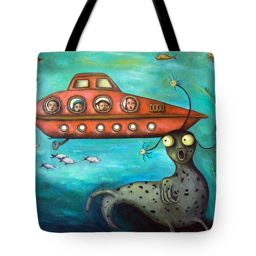 Sea Monster Tote Bag featuring the painting Ocean Screams by Leah Saulnier The Painting Maniac