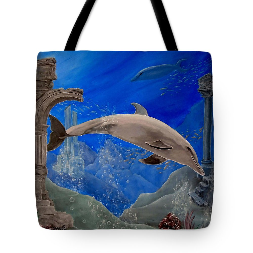 Dolphin Tote Bag featuring the painting Ocean Splendor by Faye Anastasopoulou