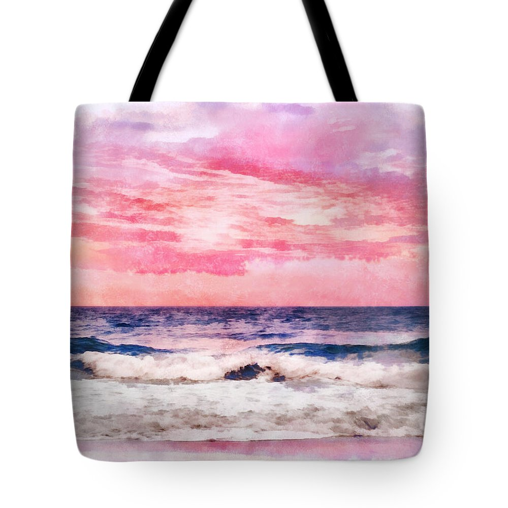 Brilliant Tote Bag featuring the digital art Ocean Sunrise by Francesa Miller