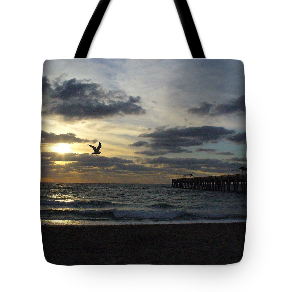Sunrise Tote Bag featuring the photograph Ocean Sunrise by Peggy King