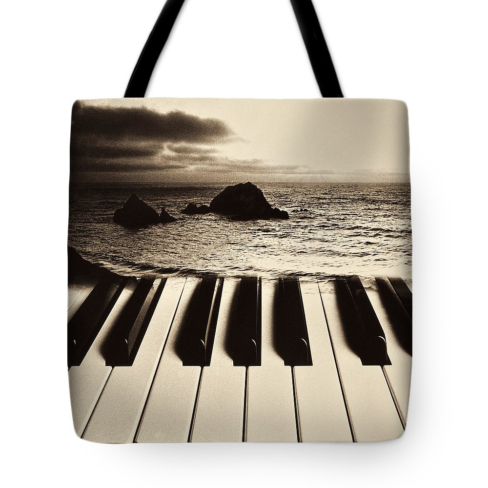 Ocean Tote Bag featuring the photograph Ocean Washing Over Keyboard by Garry Gay