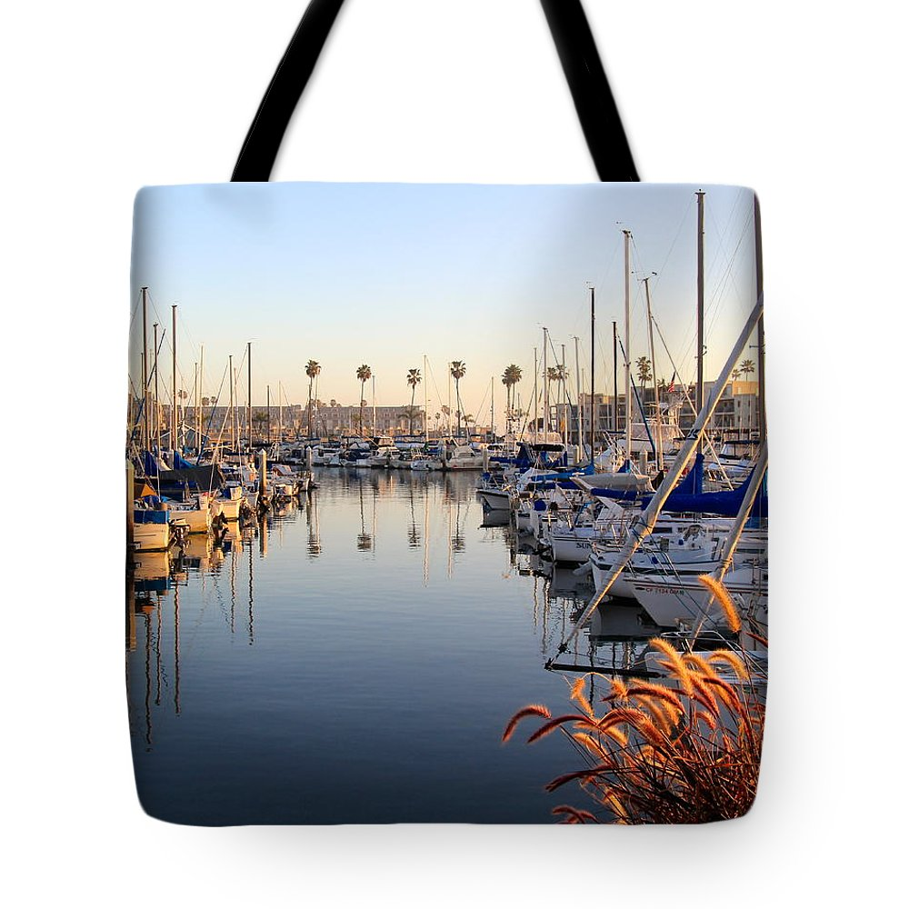 Oceanside Tote Bag featuring the photograph Oceanside Harbor At Dusk by Joy Buckels