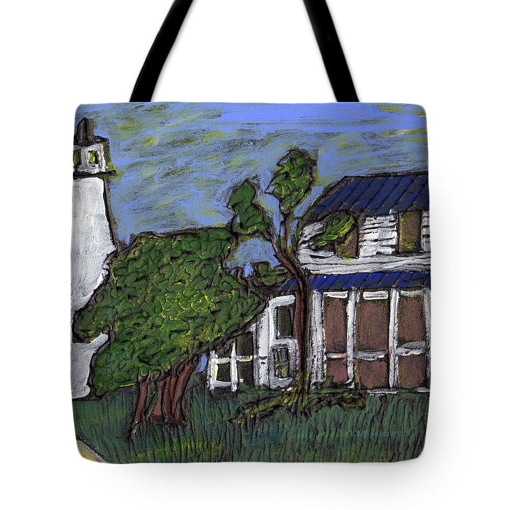 Light House Tote Bag featuring the painting Ocracoke Island Light House by Wayne Potrafka