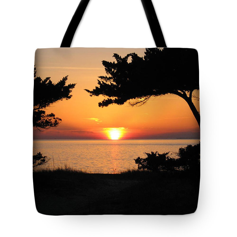 Ocracoke Tote Bag featuring the photograph Ocracoke Island Winter Sunset by Wayne Potrafka