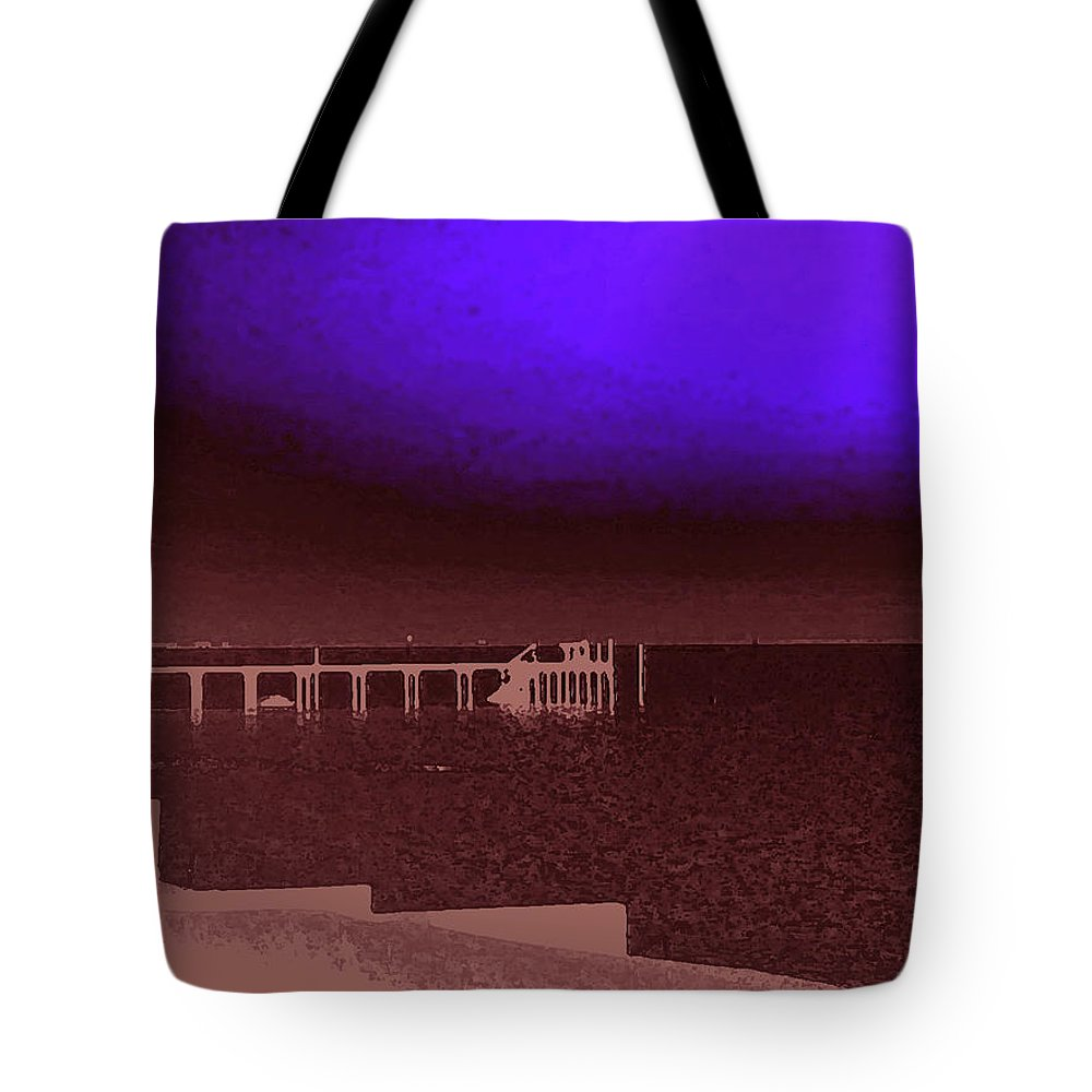 Ocracoke Tote Bag featuring the photograph Ocracoke Shoreline Pier by Wayne Potrafka