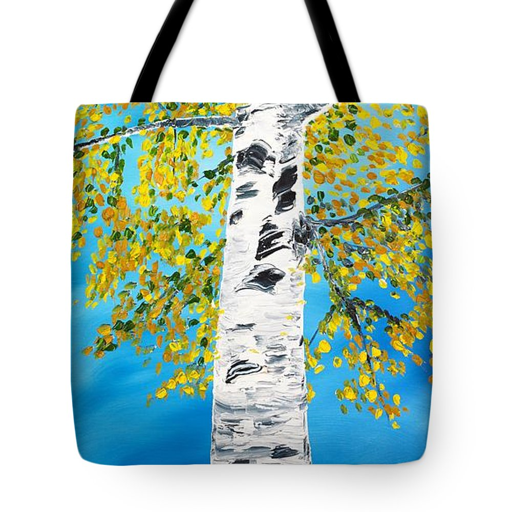 Birch Tote Bag featuring the painting October Birch by Valerie Ornstein