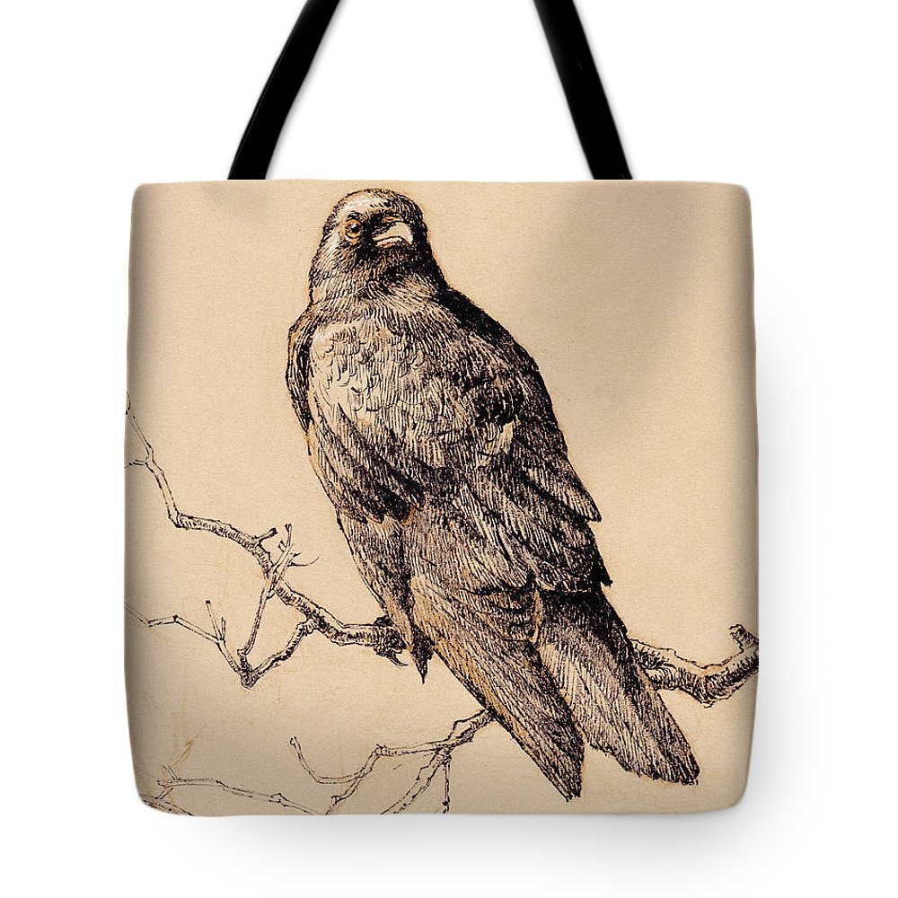 Bird Tote Bag featuring the drawing October Crow by Tracie Thompson