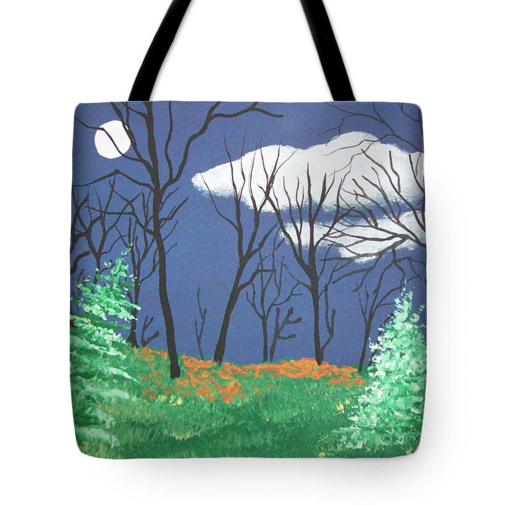 Folk Tote Bag featuring the painting October Evening by Susan Michutka