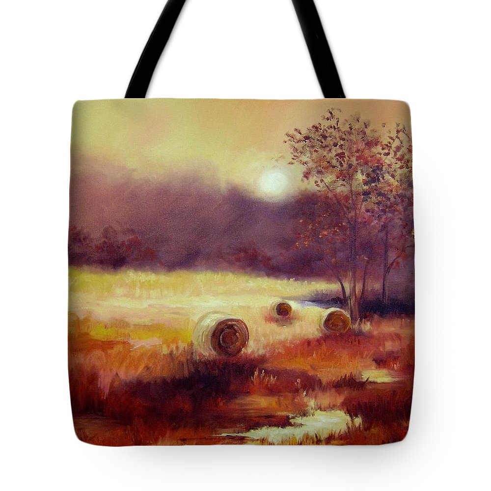 Fall Landscapes Tote Bag featuring the painting October Pasture by Ginger Concepcion