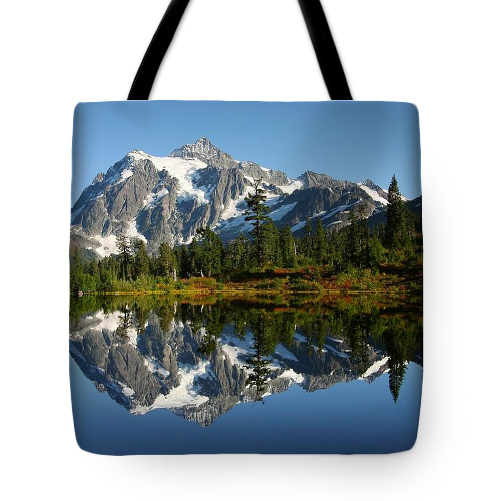 Mountain Reflection Lake Summit Mirror Tote Bag featuring the photograph October Reflection by Winston Rockwell