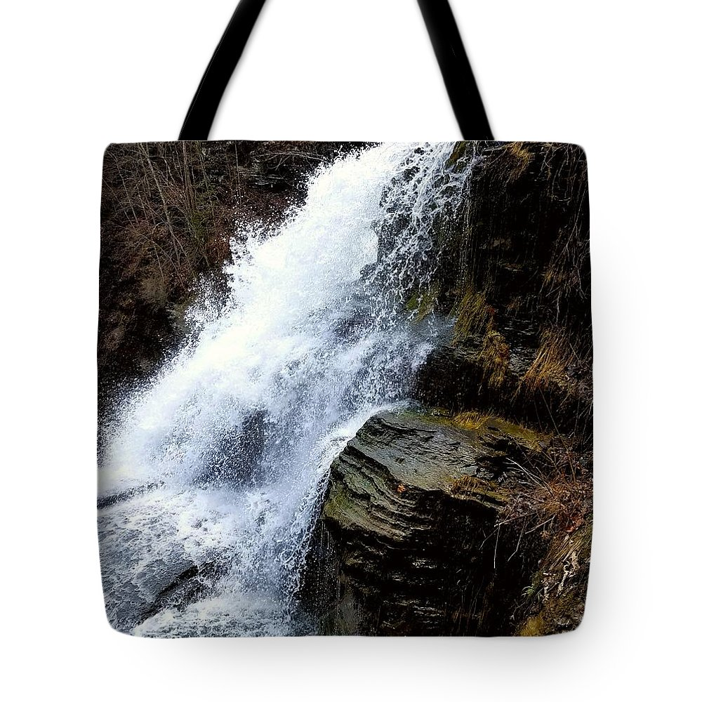 Waterfall Tote Bag featuring the photograph October Rush by Kelly Cullen