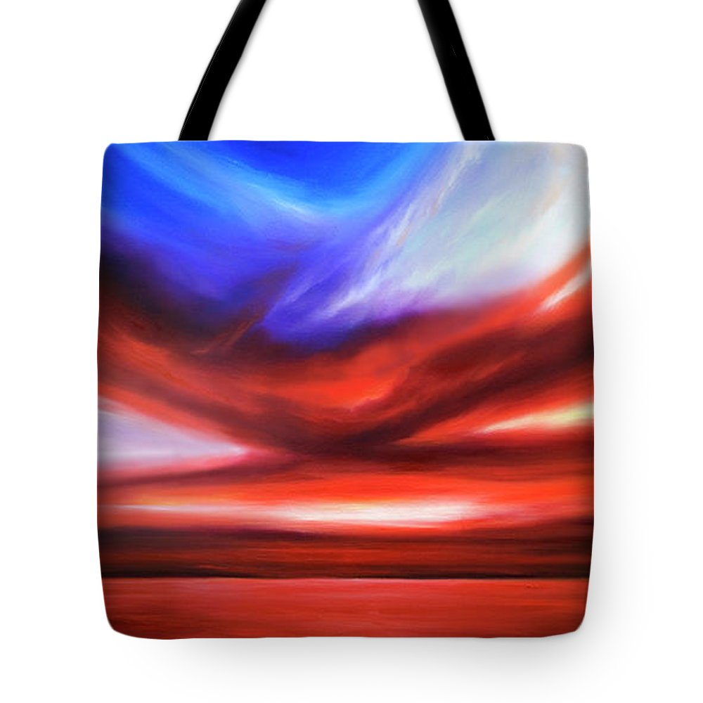 Sunrise; Sunset; Power; Glory; Cloudscape; Skyscape; Purple; Red; Blue; Stunning; Landscape; James C. Hill; James Christopher Hill; Jameshillgallery.com; Ocean; Lakes; Storm; Tornado; Lightning Tote Bag featuring the painting October Sky V by James Christopher Hill