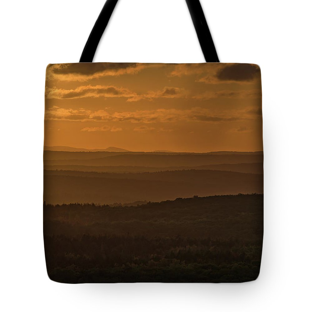 Acadia National Park Tote Bag featuring the photograph October Sunset In Acadia by Jesse MacDonald
