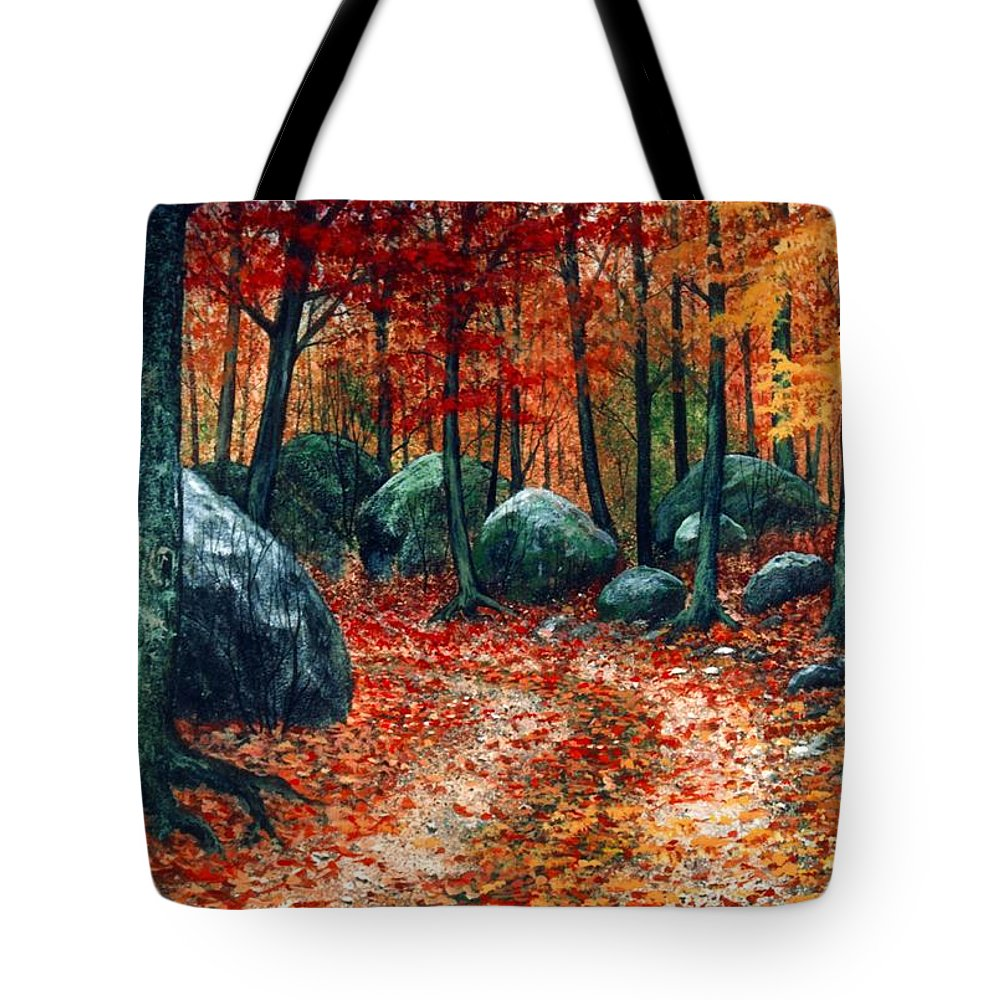 Landscape Tote Bag featuring the painting October Woodland by Frank Wilson