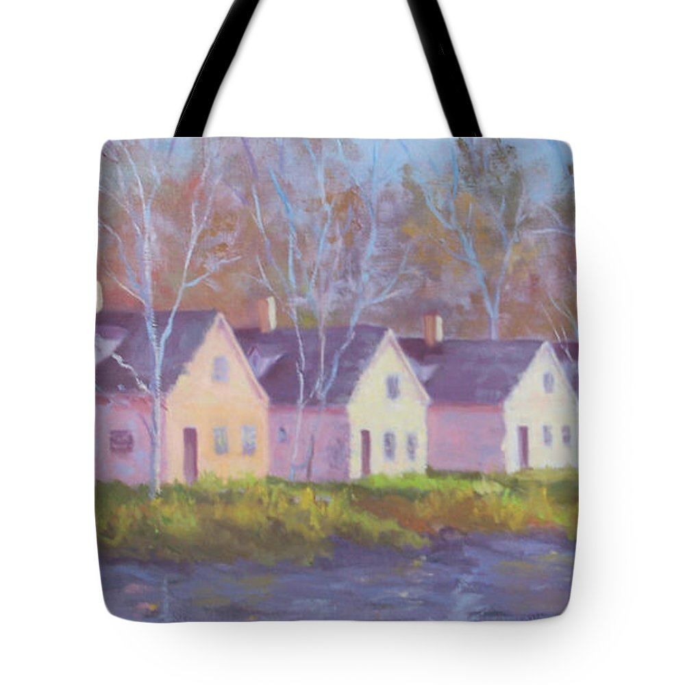 Architecture Tote Bag featuring the painting October's Light On Peanut Row by Alicia Drakiotes
