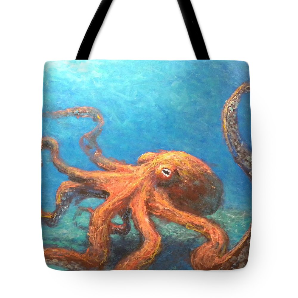 Octopus Tote Bag featuring the painting Octopus by Paul Emig