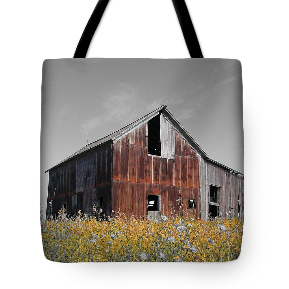 Color Desaturation Tote Bag featuring the photograph Odell Barn Vi by Dylan Punke