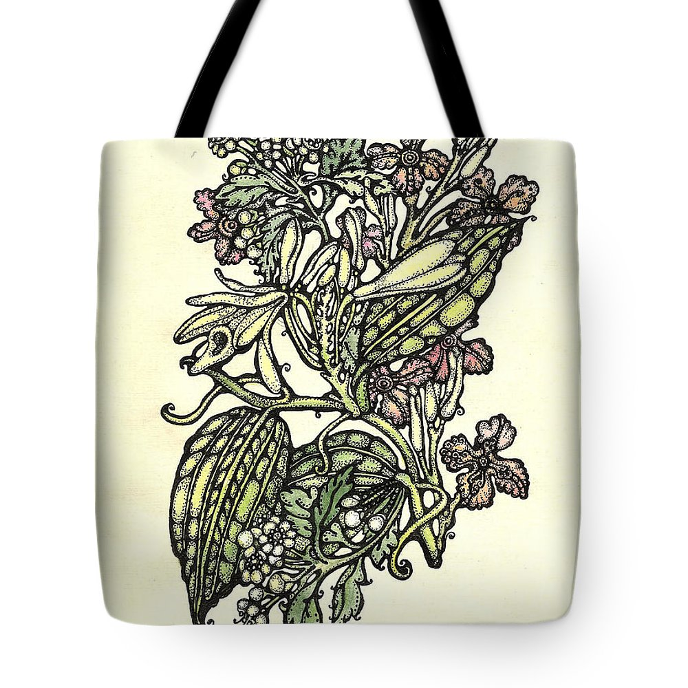 Watercolor Flower Tote Bag featuring the drawing Of Sweet Vanilla by Tais Karelina