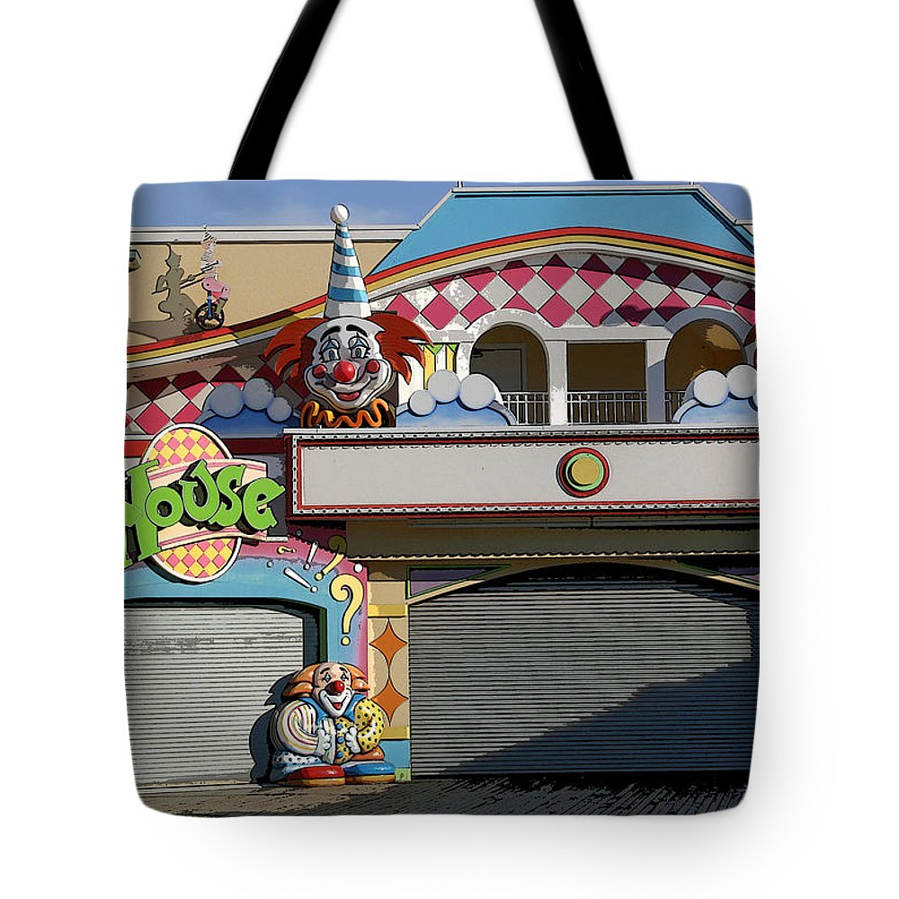 Landscape Tote Bag featuring the photograph Off Season Boardwalk by Mary Haber