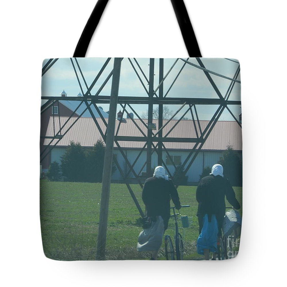 Amish Tote Bag featuring the photograph Off To Shop by Christine Clark