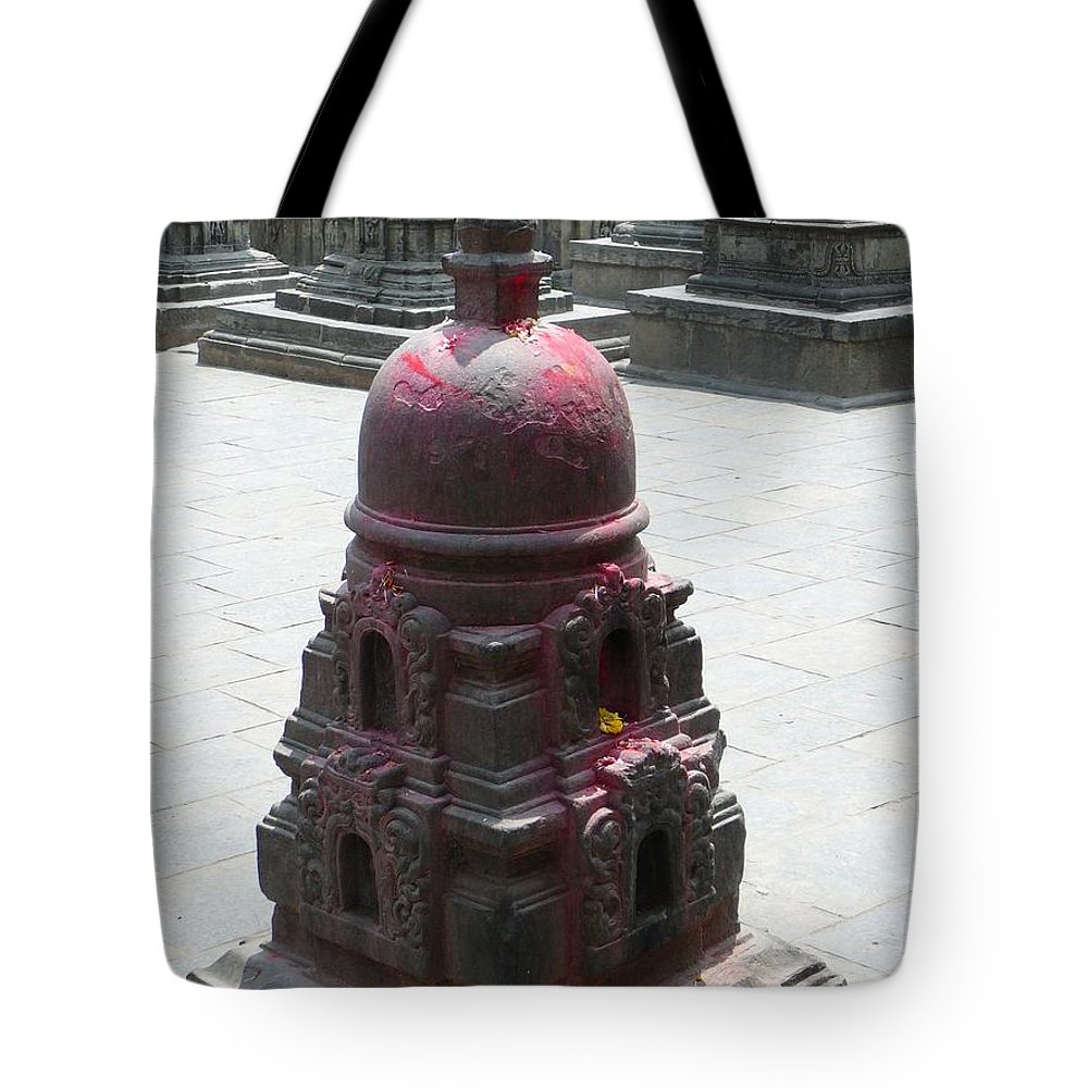 Swayambunath Tote Bag featuring the photograph Offering Architecture by Dagmar Batyahav