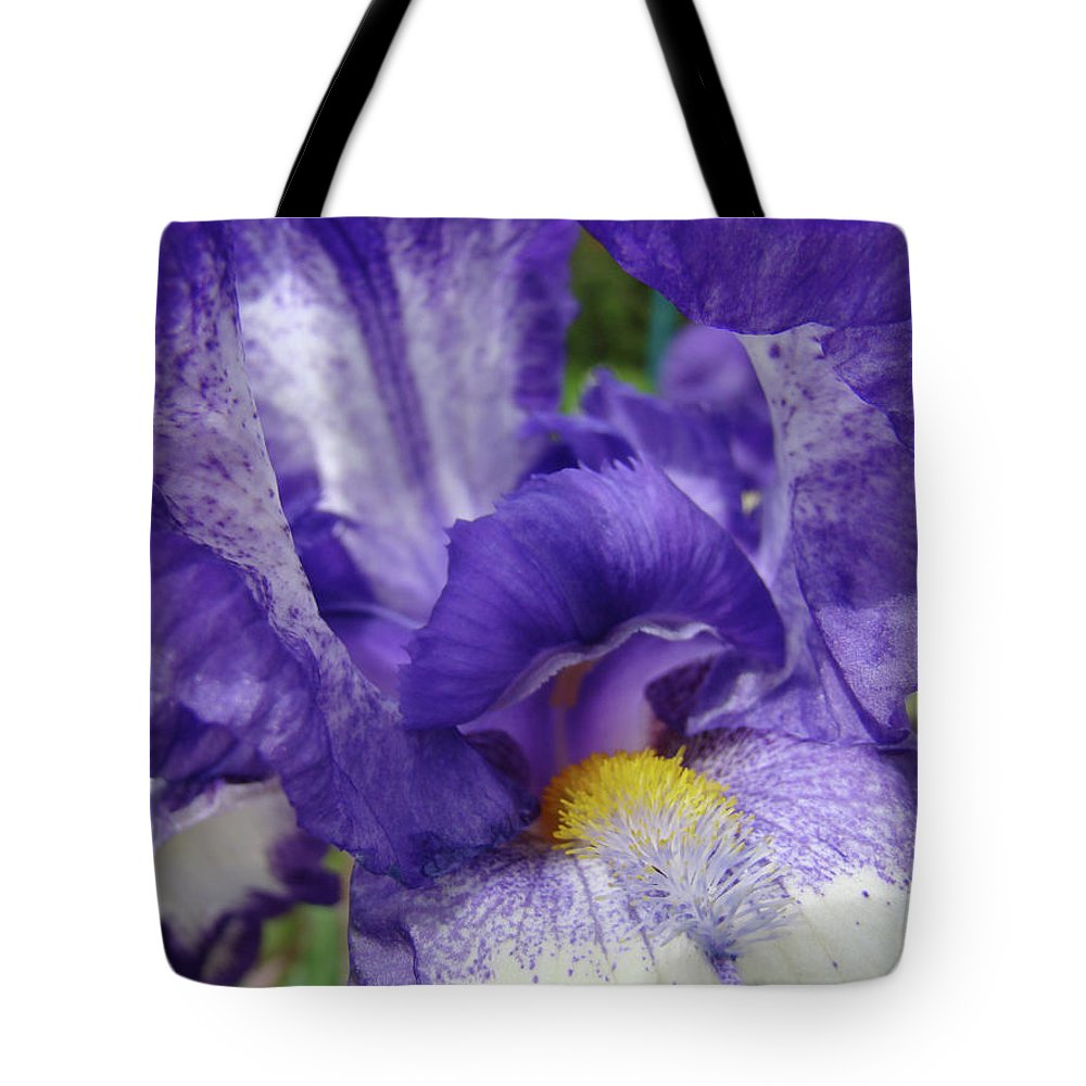 Office Tote Bag featuring the photograph Office Art Prints Iris Flowers Purple White Irises 40 Giclee Prints Baslee Troutman by Baslee Troutman