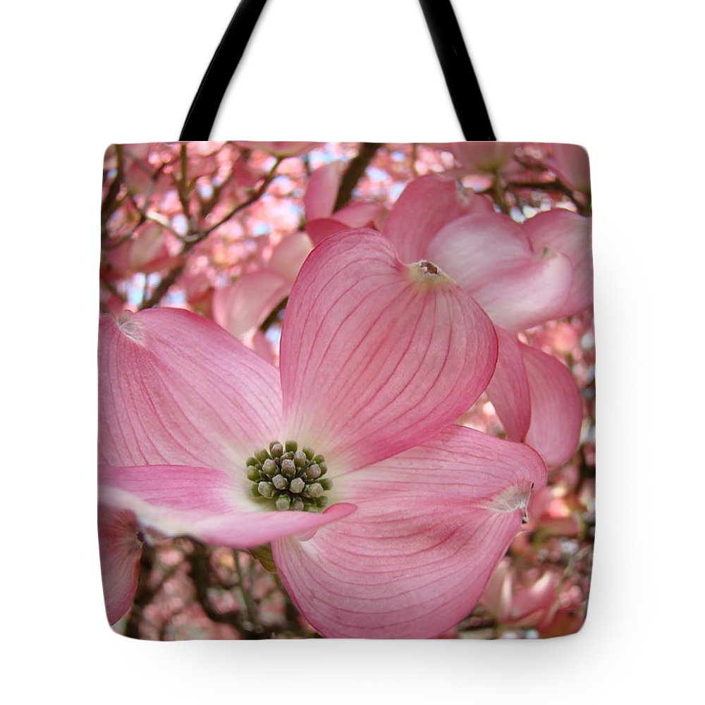 Dogwood Tote Bag featuring the photograph Office Art Prints Pink Flowering Dogwood Tree 1 Giclee Prints Baslee Troutman by Baslee Troutman