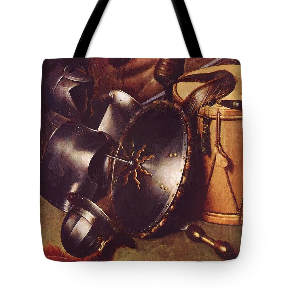 Officer Tote Bag featuring the painting Officer Of The Marksman Society In Leiden Detail by Dou Gerrit