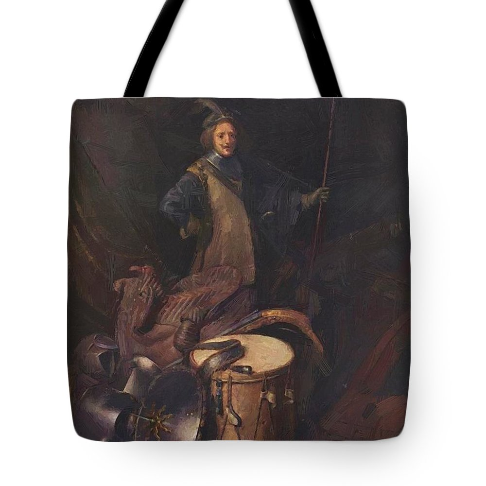 Officer Tote Bag featuring the painting Officer Of The Marksman Society In Leiden by Dou Gerrit