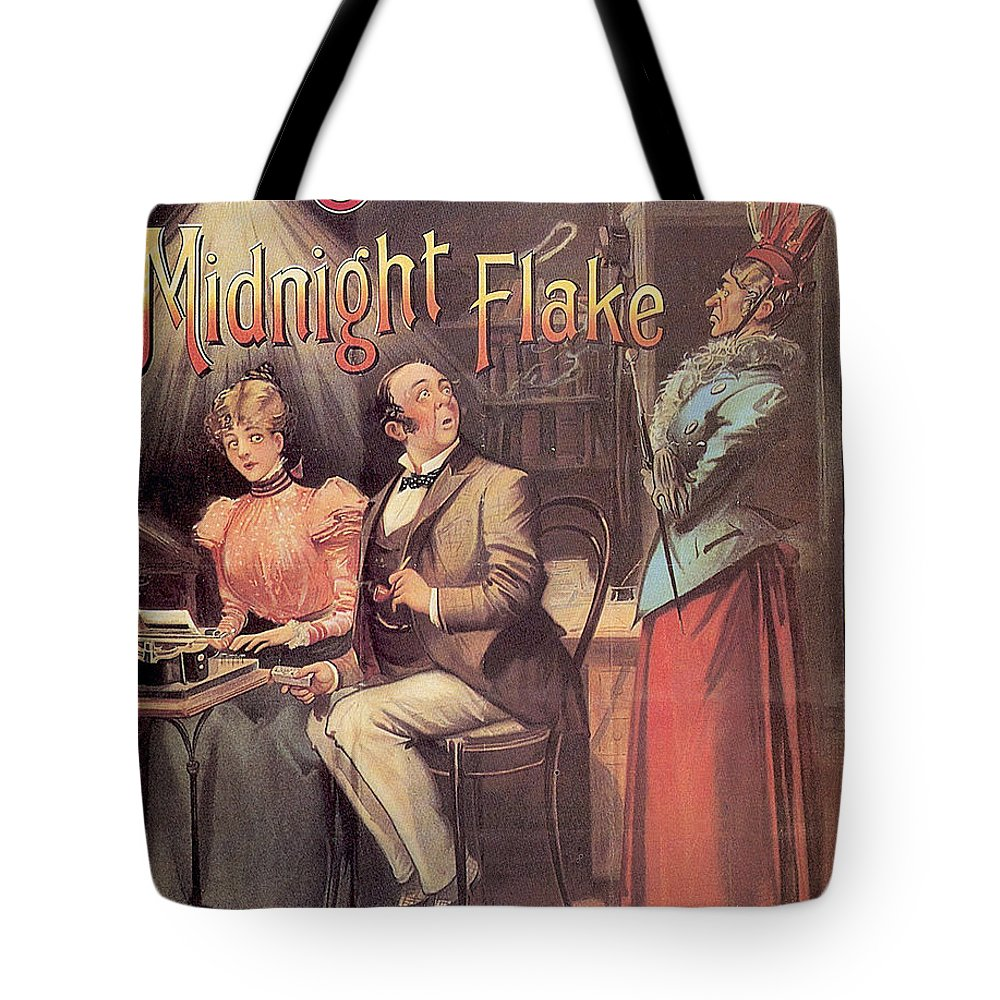 Vintage Tote Bag featuring the mixed media Ogden's Midnight Flake - Tobacco - Vintage Advertising Poster by Studio Grafiikka