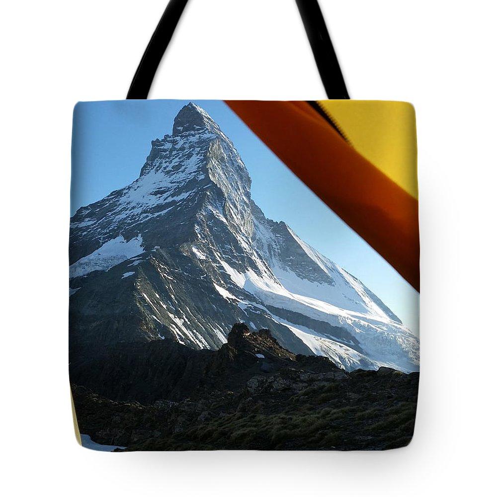 Matterhorn Tote Bag featuring the photograph Matterhorn Camping by Two Small Potatoes