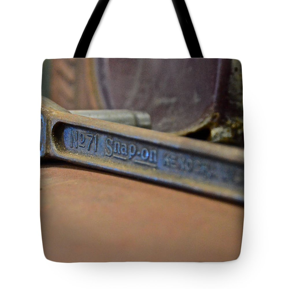 #american #automotive #classic Cars #patina #rust #vehicle #snap-on #tools #ratchet #snap On #antique Tool Tote Bag featuring the photograph Oh Snap by Kyra Neeley