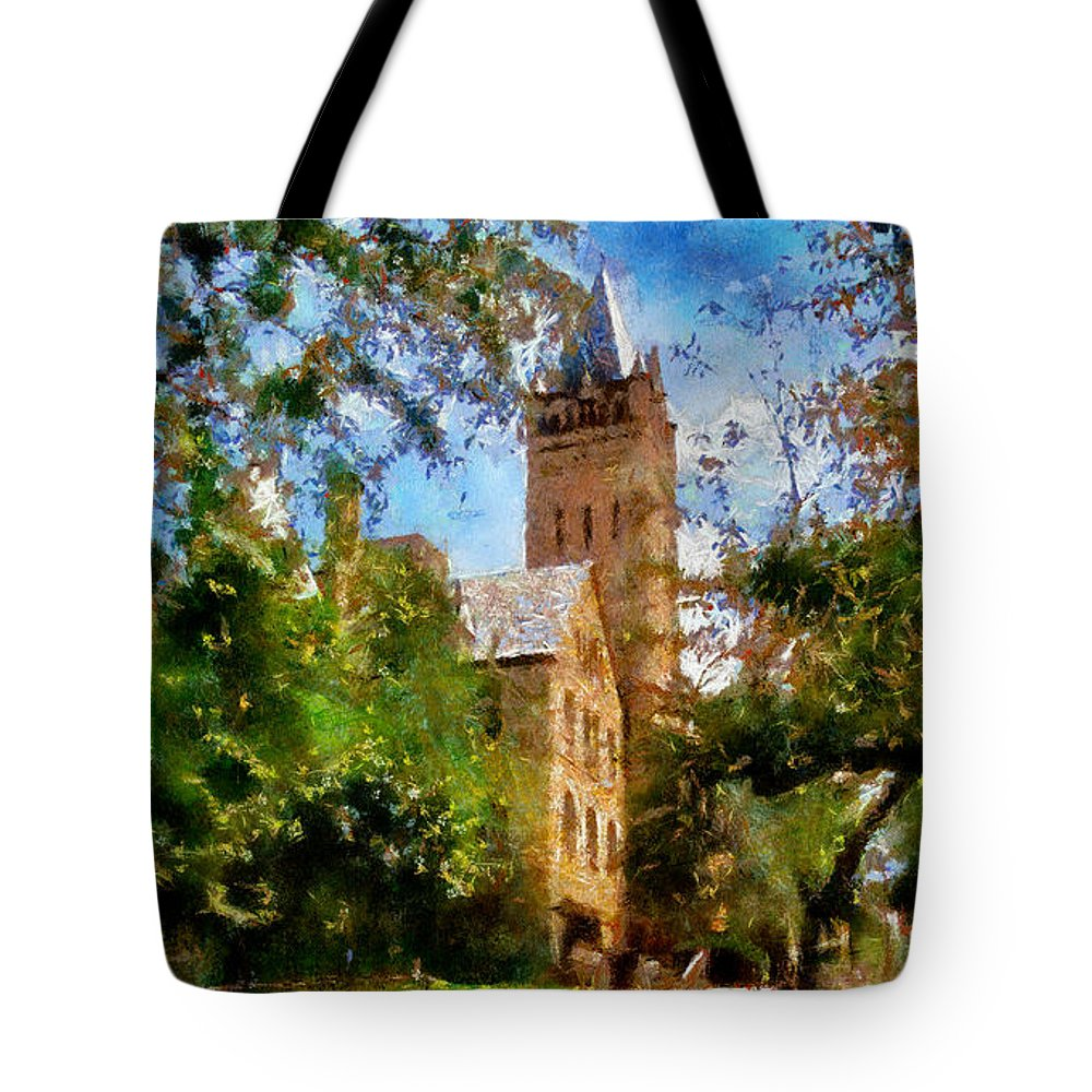 Ohio Wesleyan University Chapel Tote Bag featuring the painting Ohio Wesleyan Chapel by Betsy Foster Breen