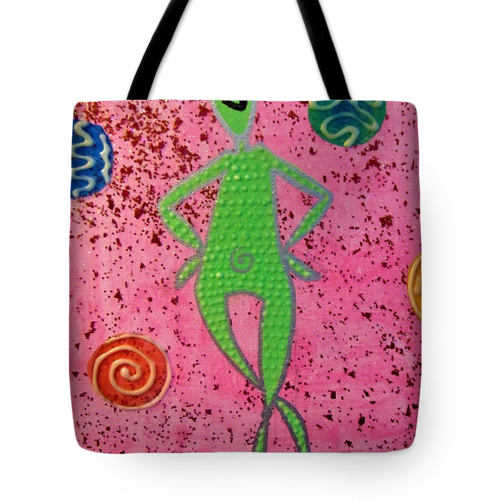 Alien Tote Bag featuring the painting Ohm Alien by Kayanna South