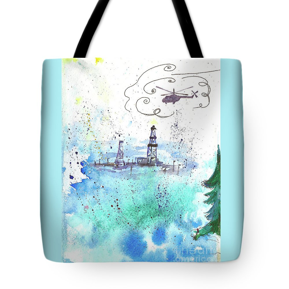 Drilling Tote Bag featuring the painting Oil Drilling by Yana Sadykova