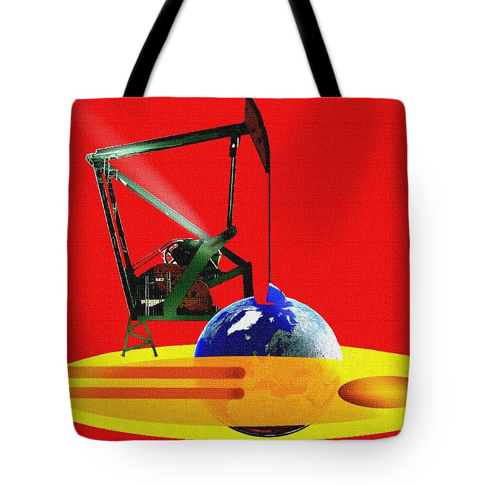 Urgent Tote Bag featuring the digital art oil by Helmut Rottler
