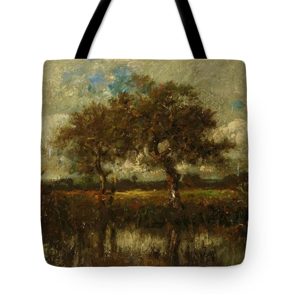 Oil Tote Bag featuring the painting Oil Painting Landscape by Dupre Jules