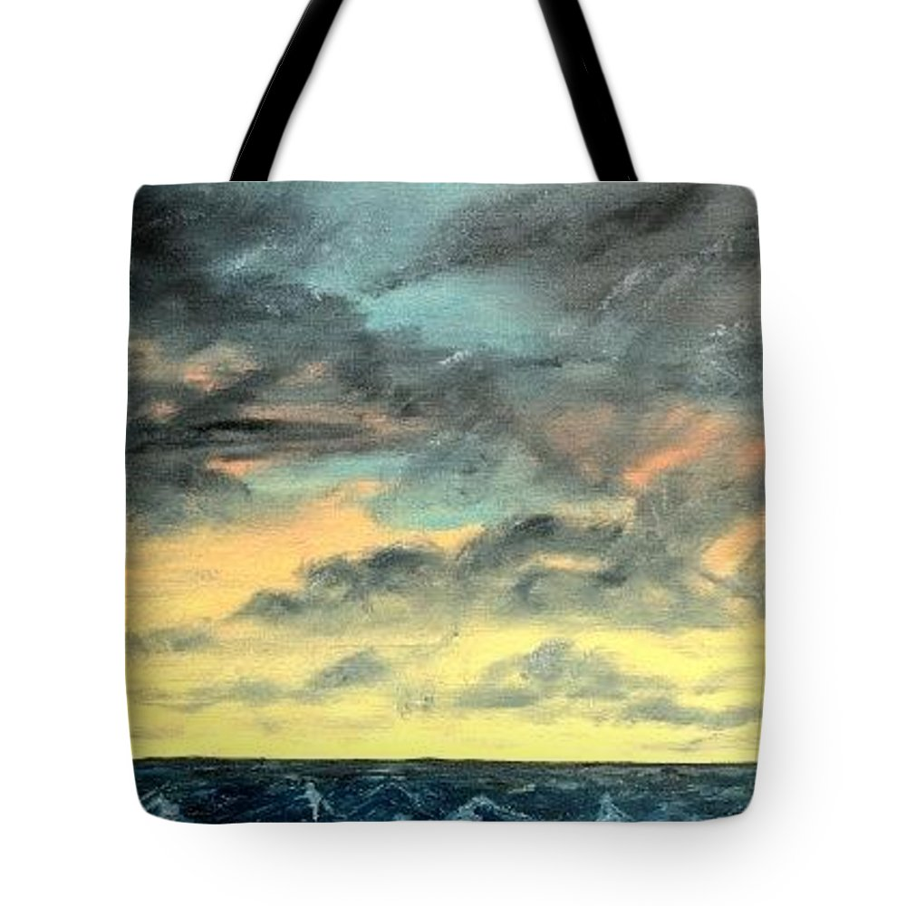 Oil Tote Bag featuring the painting Oil Skyscape Painting by Derek Mccrea