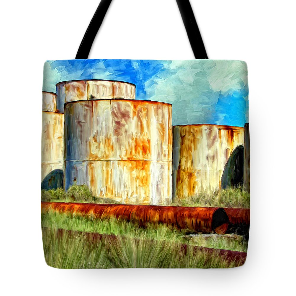 Oil Tanks Tote Bag featuring the painting Oil Tanks by Dominic Piperata